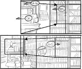 Complex camera moves can be simulated with a simple perspective and knowledge of animation mechanics. From Lovecraft is Missing © 2004 Larry Latham.