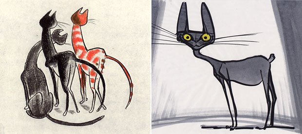 Grants black cat (left) felt generic to Gabriel, who decided to make the feline tailless and add a small belly (right).