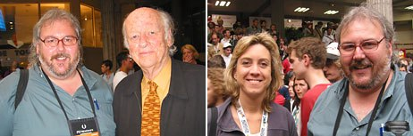 AWNs Dan Sarto hanging out with the celebs Ray Harryhausen and Leslie Iwerks, respectively.