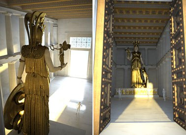 Witness the awe of the Cella of the Ancient Parthenon with the Statue of Athena.