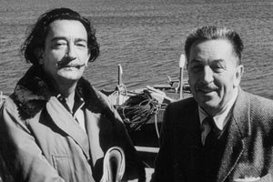 Walt Disney (right), pictured here with Salvador Dali, often teetered between modern art and realism with his films. © Disney Enterprises Inc. All rights reserved.