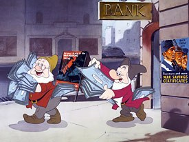 Even Happy and Grumpy did their bit by buying war bonds. © Disney. All rights reserved.