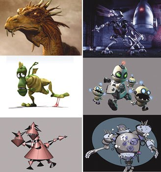 [Figures 5 & 6] Realistic, cartoony and abstract monsters (left) and realistic and cartoony robots (right).