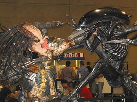 Comic-Con attendees were placing bets around this display for the Alien vs. Predator space monster match-up movie.