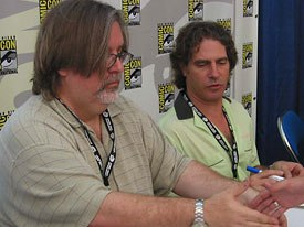 The fans really turn out to hear and get autographs from Simpsons originals Matt Groening (left) and David Silverman.