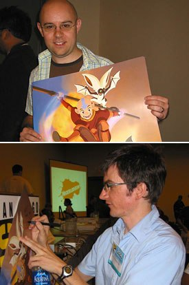 Creator/exec producers Mike DeMartino (top) and Bryan Konietzko shared and signed concept art during an advance look at Avatar, The Last Airbender, coming upon Nickelodeon.
