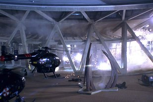 Visual effects work was used to enhance the on-set special effects.