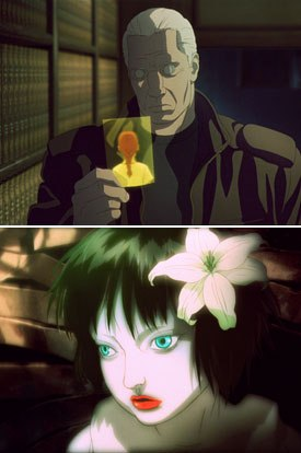Cyber-top cop Batou (top) investigates beautiful killer sex robot models (bottom) known as gynoids in Ghost in the Shell 2: Innocence. All photos from Ghost in the Shell 2: Innocence courtesy of Go Fish Pictures.