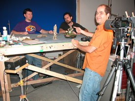 Stop-motion animators Seamus Walsh, Chris Finnegan and Mark Cabellero of Screen Novelties play with dolls for a living, and make it look good.