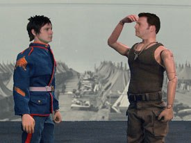 The live action and animation come together with actors Jeff Davis and Brad Sherwood as toy soldiers.