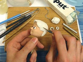 Sculpting Milliput head.