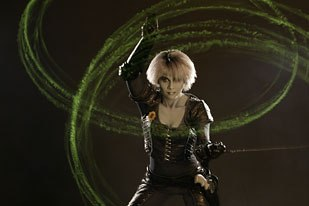 Girl with a high tech whip: Chiana (Gigi Edgley) is one of the offbeat characters in this quirky space opera. Fans were crushed when the original series was cancelled. Photo credit: Sci Fi Channel.