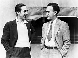 Forced to screen bits of the unfinished movie to Bank of America to secure a loan, Walt Disney (left) seen here with legendary animator Ub Iwerks, circa 1932, almost lost his studio over Snow White. © Disney Enterprises Inc.