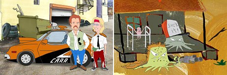 Set for a spring 2005 debut is Stroker and Hoop (left), described as Starsky and Hutch meets Knight Rider while Squidbillies is headed for a December production start date. © & TM 2004 Cartoon Network.