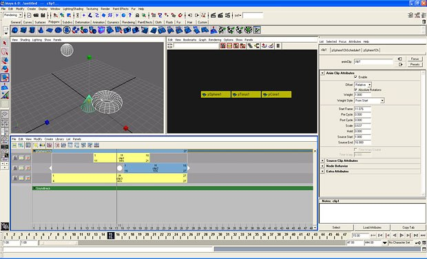 Trax editor shows both animation and audio data.