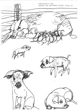 E.B. White hoped that Charlottes Web on film would celebrate life. Above is Mother Pig and Baby Wilbur from the storyboards that were prepared for Gene Deitchs planned production. All images by Mirko Hanák.
