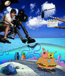 SBSP creator Stephen Hillenburg directs Patrick and SpongeBob in the movie. Photo by: David Strick.