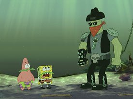 Dennis the bounty hunter, a new character in Bikini Bottom, doesn't buy SpongeBob and Patrick's disguises.