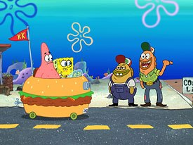 SpongeBob and Patrick take to the road and come of age.