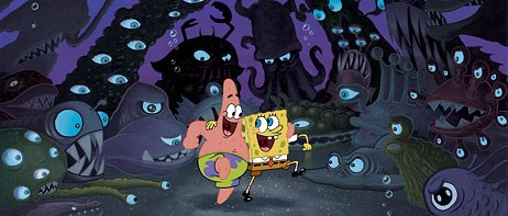 SpongeBob and Patrick blithely walk through a land of monsters in their quest for Neptune's lost crown.