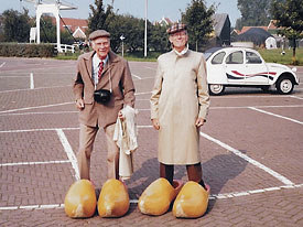 Ollie (left) and Frank try on some new shoes in Denmark. Photo courtesy of Hans Perk.