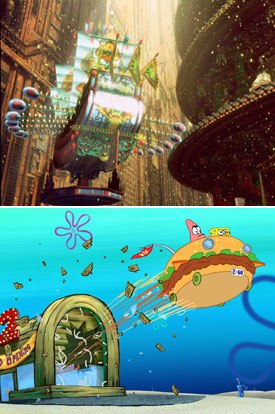 Ghost in the Shell 2 (top) and The SpongeBob SquarePants Movie (bottom) are the great 2D hopes.