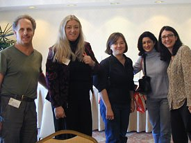Leib Ostrow of Music for Little People, AWN editor in chief Sarah Baisley and Disney attendees.