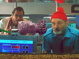 Goldblum (left) and Murray check out the hydronicus inverticus (rat-tail envelope fish).
