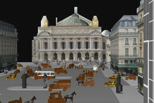 Carsoux previsualized this early 20th century shot of the Paris Opera House plaza.