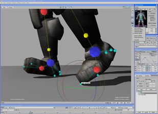 A new feature in MotionBuilder 6 lets you create auxiliary pivot points for effectors or joints. It allows you to quickly define and animate multiple independent rotation points for any IK Control rig effector.