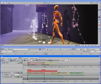 MotionBuilder 6 offers an intuitive interface for setting up multiple cameras and sequencing in a story timeline.