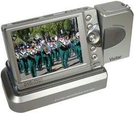 The Vivitar DVR-390H features a 3-megapixel still camera, an MPEG-4 video camera, built-in flash, 3.6