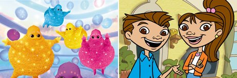 PBS Kids offers interactivity and animation for Boobah (left) while Maya & Miguel is the networks first show to feature a full voiceover track with video clips. Boobah courtesy of PBS Kids; Maya & Miguel © Schol