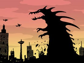 Insanely Twisted Shadow Puppet Show is an improvisational, silhouetted Flash animation from independent animators Michel Gagné and Jayson Thiessen. © 2004 Michel Gagné.
