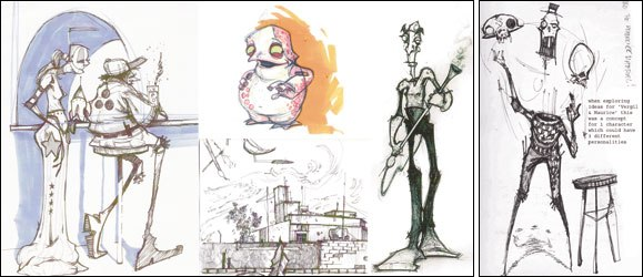 [Figures 2 & 3] Story is integral, but I love to draw and design (left)! An early idea for the main character(s).