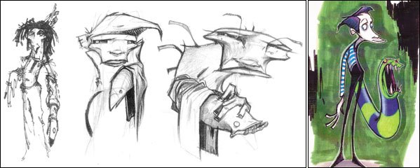 [Figures 4 & 5] More early design sketches created while I was vacationing in Mexico (left); Final character design.