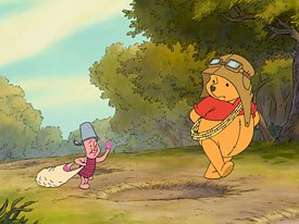 Hearing a strange rumbling in the Hundred Acre Wood, Piglet and Pooh set off in search of a Heffalump.