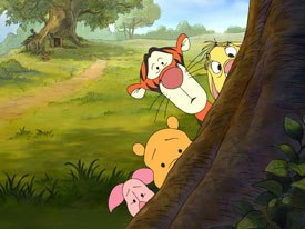 Piglet, Pooh, Tigger and Rabbit initially believe Heffalumps are something to be feared and hide from Lumpy and his mother.
