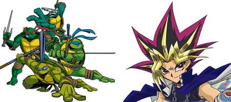 Teenage Mutant Ninja Turtles and Yu-Gi-Oh! are brands that dominate toy store shelves. TMNT images © 2005 Mirage Studios Inc. A trademark of Mirage Studios Inc. All rights reserved. Yu-Gi-Oh! images © 1996 Kazuki