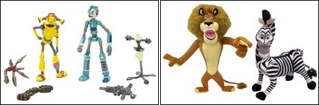 Many of the licensed intros this year were tied to films, such as Foxs Robots (left) and DreamWorks Madagascar.&©2005 20th Century Fox. All rights reserved. Photo courtesy of Mattel (left) and ©2005 Hasbro, I