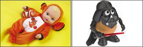 Co-branding was also a popular concept. Here Waterbabies meets Nemo with the Dress Up Cuddler Water Babies Nemo (left) while Darth Vader unites with Mr. Potato Head to make Darth Tater. © Playmates Toys (left) and © 2005 Hasbro, Inc.
