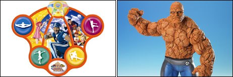 Nickelodeons LazyTown and Marvels The Thing gets the toy treatment. © &  2005 LazyTown Ent. All Rights Reserved. Photo credit: Fisher-Price (left) and  & ©2005 Marvel Enterprises Inc. All Rights Reserved.