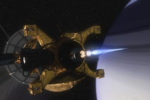 Cassini firing its main thruster above Saturns rings to enter Saturns orbit.