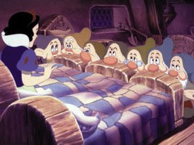 WB cartoons, graphic and flashy animation are comprised of poses while subtle animation, like Disney human beings move less from pose to pose. Snow White and the Seven Dwarfs © Disney.