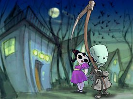 Death Jr. is taking a different path to the big screen. It makes its debut as a PSP game later this year, then it will appear as a comicbook and an anime-style TV series while it is developed as a feature film. © 2005 Backbone Ent.
