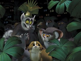 Animators were given free reign to try out new ideas on some of the newer characters like King Julien (top), his right-hand man Maurice (right) and Mort.