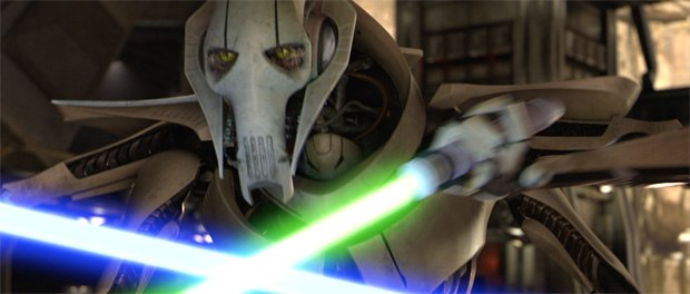 The big payoff to Grievous comes when he turns out to be a Jedi-trained expert at weapons dueling who takes pride in sporting the lightsabers of his prey inside his cloak.