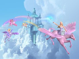 Graceful winged horses, enchanting princesses and romance abound in Barbies upcoming video, Barbie and The Magic of Pegasus.