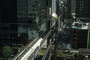 One of the digital touches added to Chicago to transform it into Gotham City was the monorail system.