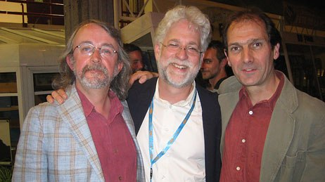 Ron Diamond, publisher of AWN meets up with Aardmans Peter Lord (left) and David Sproxton (right). Photo credit: Sarah Baisley.